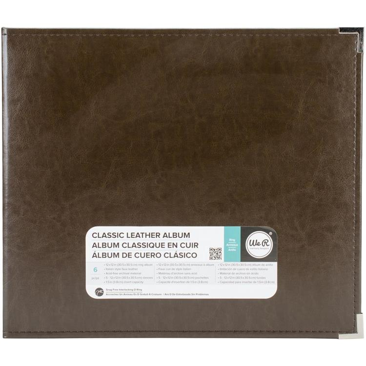 "We R Memory Keepers - Classic Leather D-Ring Album - 12"" x 12"" - Dark Chocolate"