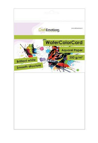 CraftEmotions WaterColorCard - briljant wit 10 vl A5 - 350 gr
