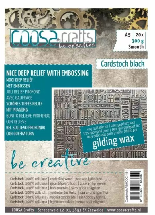COOSA Crafts - Cardstock Black - Smooth - A5 - 300 gr
