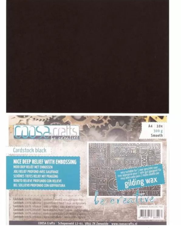 COOSA Crafts - Cardstock Black - Smooth - A4 - 300 gr