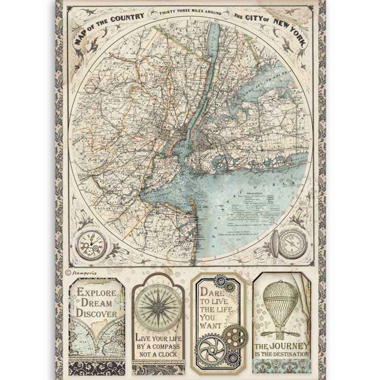 Stamperia - Rice Paper A4 - Map of New York