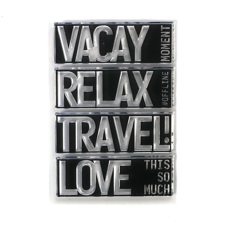 Elizabeth Craft Design - Clearstamp - Block Words - Travel