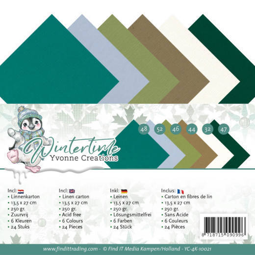 Linnen Cardstock Pack - 4K - Yvonne Creations - Winter Time