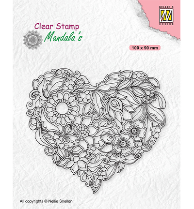 Clearstamp Nellie Snellen - Mandala - Flower heart