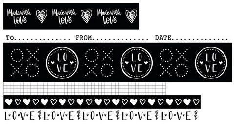 Studio Light - Filled With Love - Washi Tape Black/White nr. 18