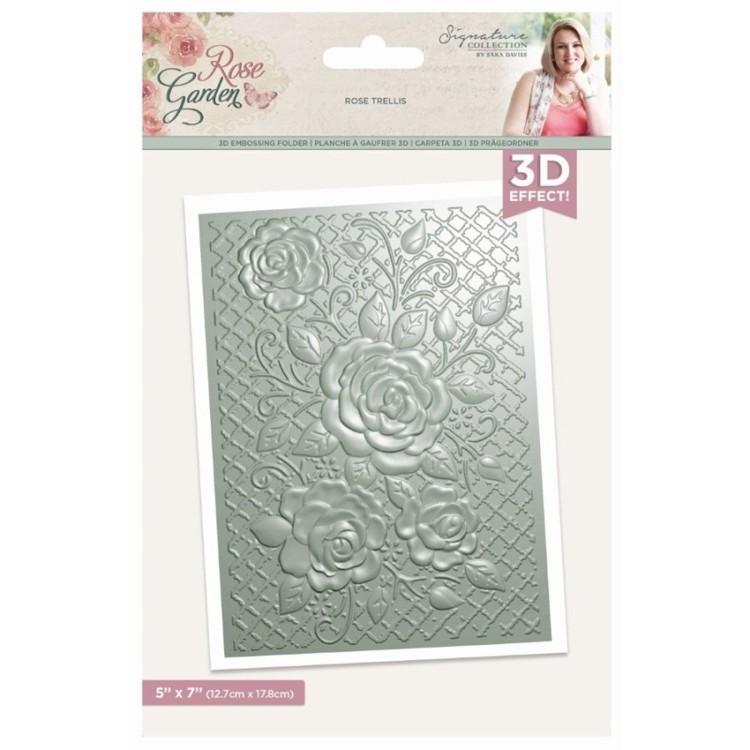 Crafter's Companion - Rose Garden - 5x7 3D Embossing Folder - Rose Trellis
