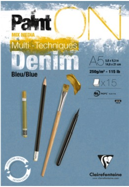 Clairefontaine - PaintON papier - Denim A5 - 250 grams / 15 vel