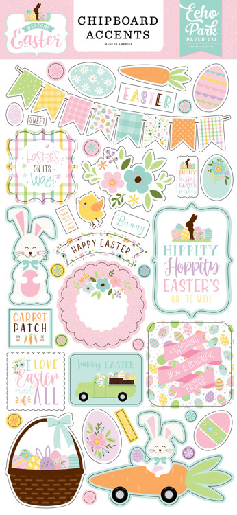 Echo Park - Welcome Easter - 6x13 Inch Chipboard Accents