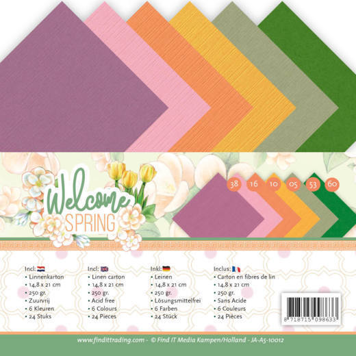 Linnen Cardstock - A5 - Jeanine's Art - Welcome Spring