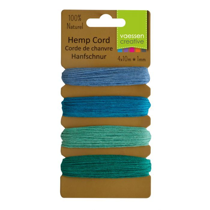 Vaessen Creative - Hemp Cord Assortment - 4x10m - Blue/Green