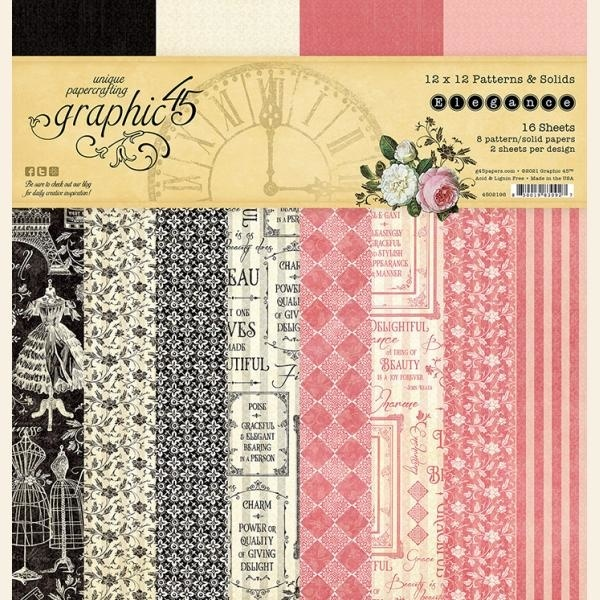 Graphic 45 - Elegance - Paperpad 30 x 30 cm - Patterns & Solids