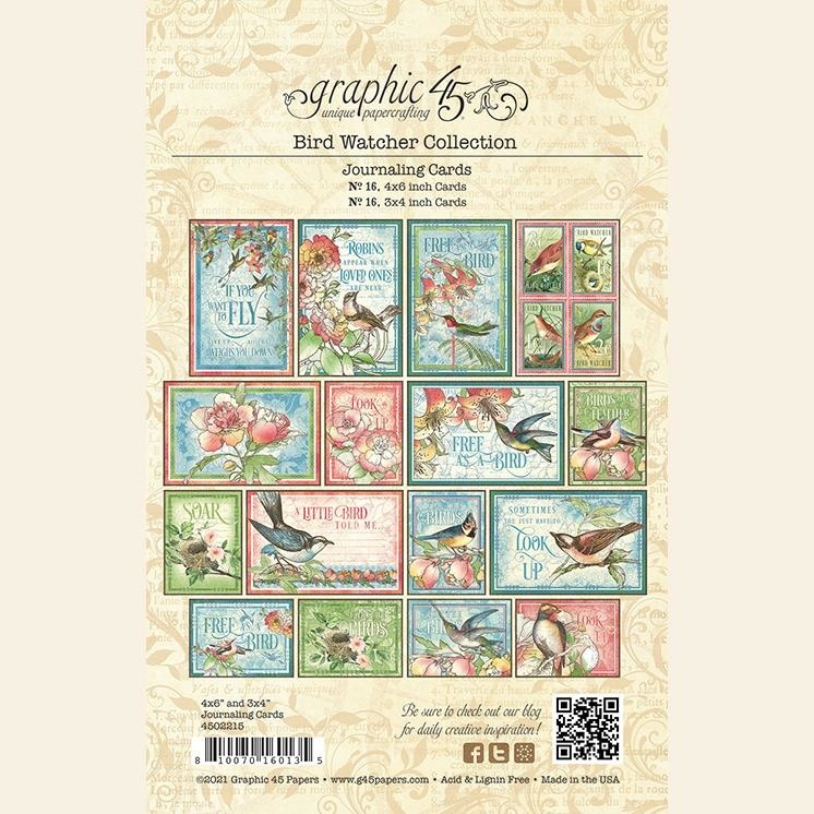 Graphic 45 - Bird Watcher - Ephemera & Journaling Cards