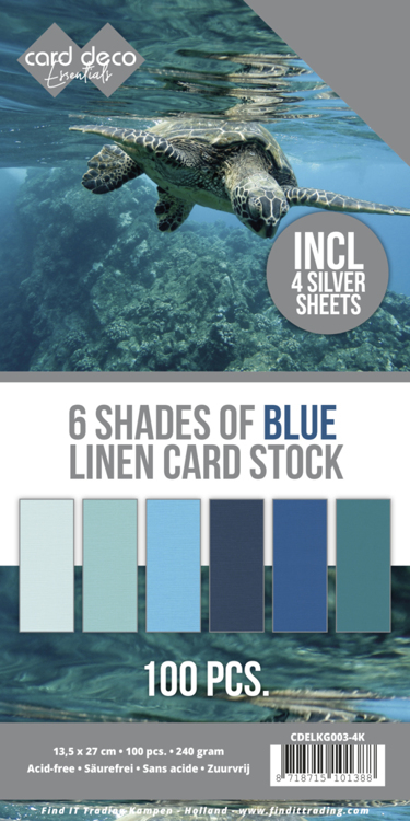 Linnenkarton - Card Deco - 6 Shades of Blue - 13,5 x 27,5 cm