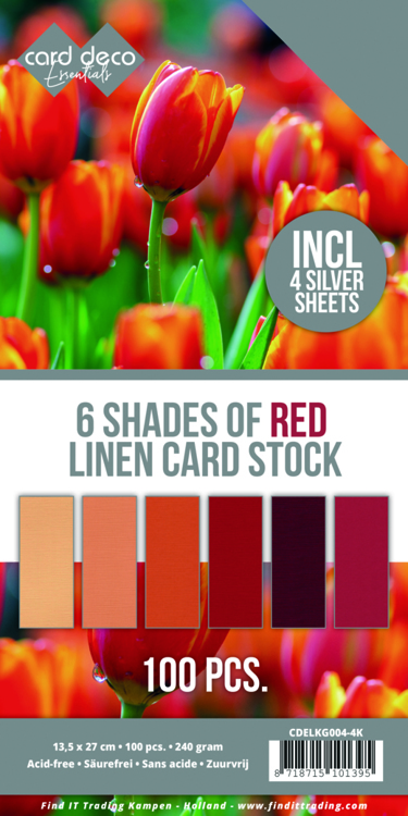 Linnenkarton - Card Deco - 6 Shades of Red - 13,5 x 27,5 cm