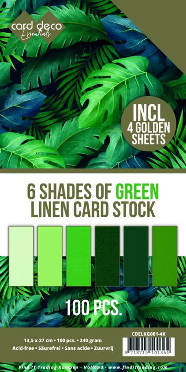 Linnenkarton - Card Deco - 6 Shades of Green - 13,5 x 27,5 cm