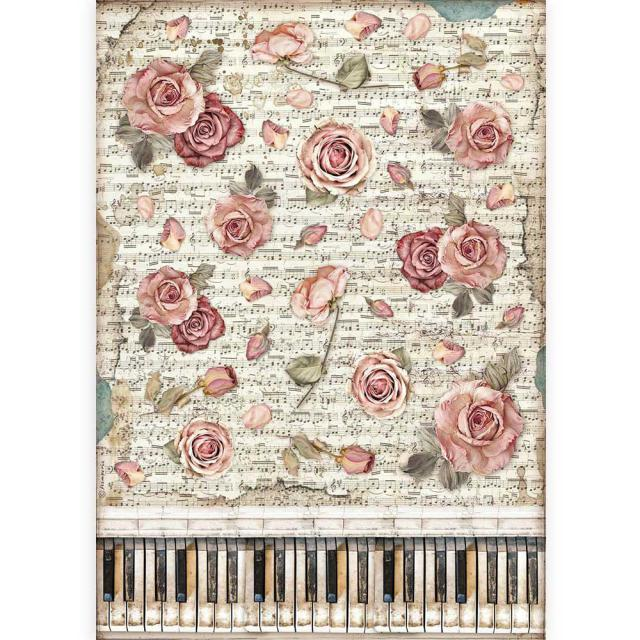 Stamperia - Rice Paper A3 - Passion roses and piano