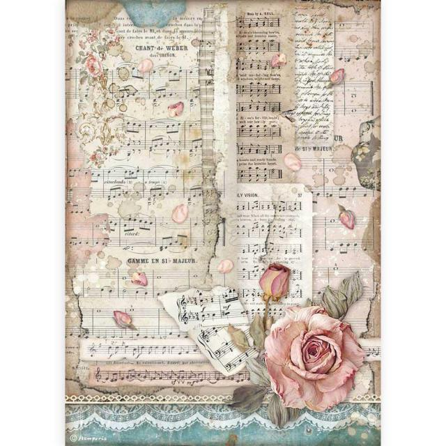 Stamperia - Rice Paper A4 - Passion roses and music