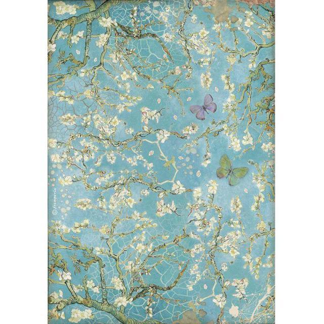 Stamperia - Rice Paper A4 - Atelier Blossom blue background with butterfly