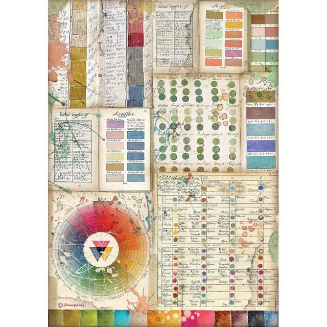 Stamperia - Rice Paper A4 - Atelier Pantone charts