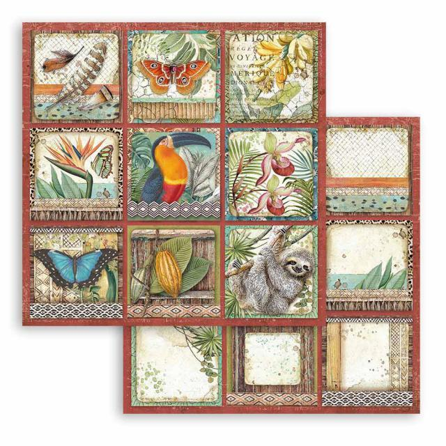 Paper Sheet Stamperia - 30.5 x 30.5 cm - Amazonia square tags