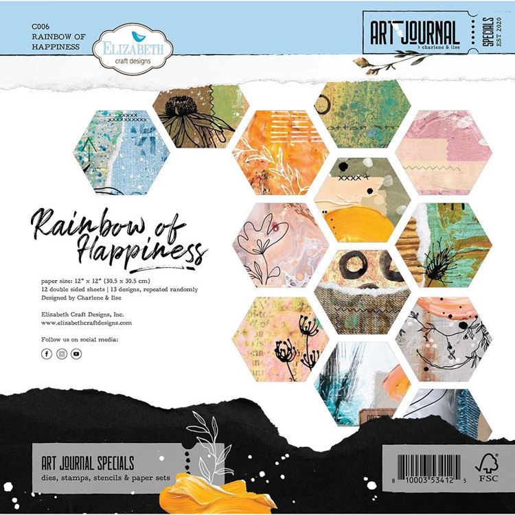 Elizabeth Craft Design - Art Journal Special - Paperpad 30,5x30,5cm - Rainbow of Happiness