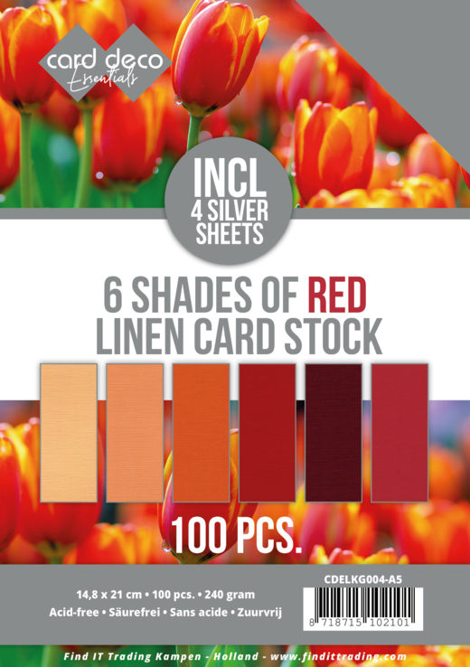 Linnenkarton - Card Deco - 6 Shades of Red - A5