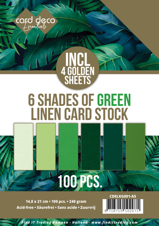 Linnenkarton - Card Deco - 6 Shades of Green - A5