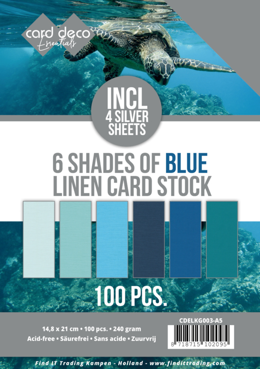 Linnenkarton - Card Deco - 6 Shades of Blue - A5