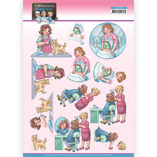 3D Cutting Sheet - Yvonne Creations - Bubbly Girls Professions - Beautician