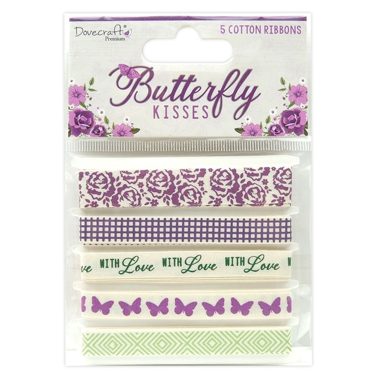 Dovecraft - Butterfly Kisses - Printed Cotton Ribbons