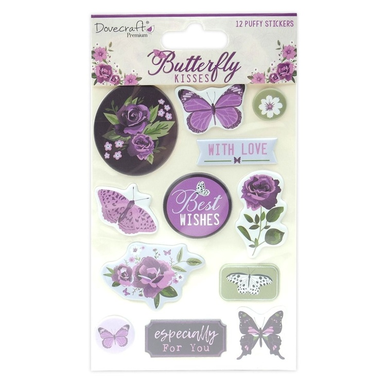 Dovecraft - Butterfly Kisses - Puffy Stickers