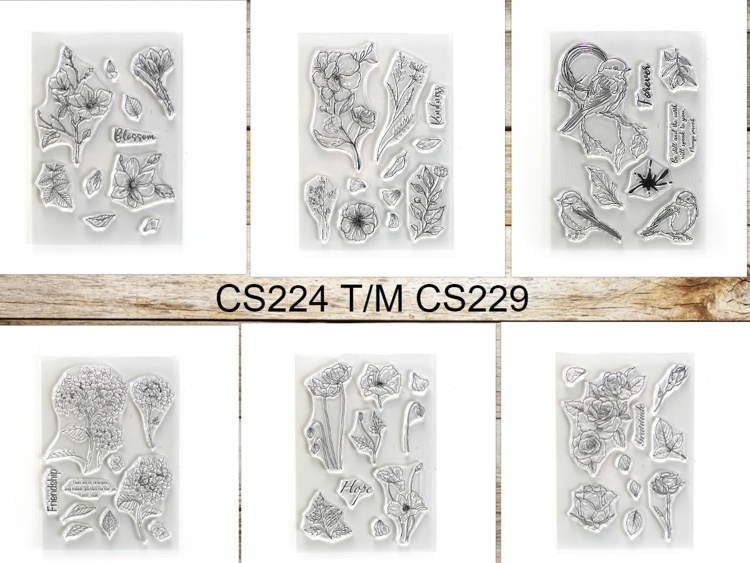 Elizabeth Craft Designs - Clearstamp - Actieset CS224 t/m CS229