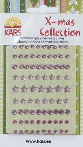 X-mas Collection - Plaksteentjes facet/rond/ster roze