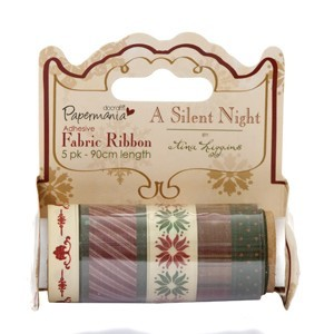 Papermania - Selfadhesive fabric ribbon - Silent night by Tina Higgings
