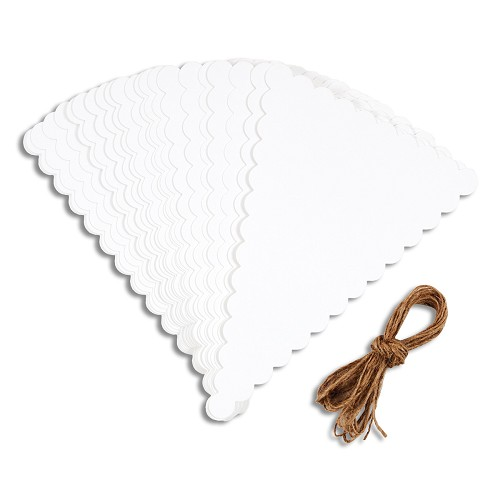DIY Bunting Pack (400GSM) - Scalloped White (24PCS) & 4.5M Twine