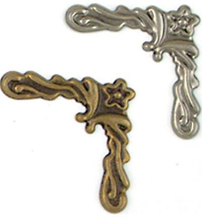 Decoratie hoekjes antiek zilver/koper 3