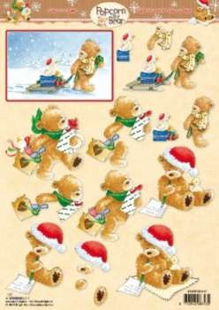 3D Knipvel - Studio Light - Popcorn the Bear Kerst 1147