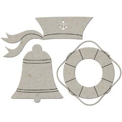 FabScrap - Die-Cut Grey Chipboard Embellish- Sailor Hat/Bell/Lifesaver Ring