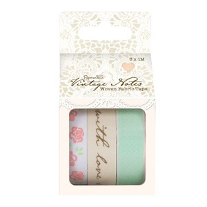 1m Woven Fabric Tape (3pcs) - Vintage Notes