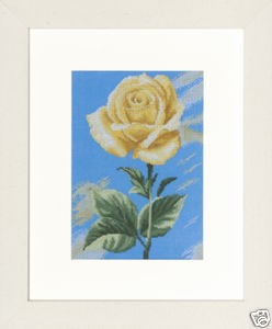 Lanarte - Home and Garden Collection - Yellow Rose on Blue (Aida)