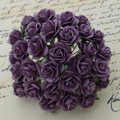 WOC Flowers - Purple Mullberry Paper Roses - 10mm