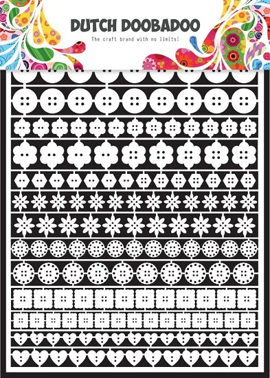 Dutch Doobadoo - Dutch Paper Art A5 - wit - buttons