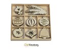Houten ornamenten - CraftEmotions - Purple Holiday Kerstballen