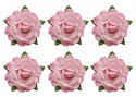 ScrapBerry`s flowers - Tea roses` flowers, -18 mm diameter, 6 pcs, pink