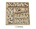Houten ornamenten - CraftEmotions - 10,5 x 10,5 cm - Xmas woorden