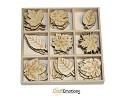 Houten ornamenten - CraftEmotions - 10,5 x 10,5 cm - Bladeren