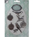Joy! Crafts - Metal charms - Antiek zilver love birds
