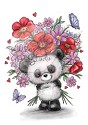 Clear stamp - Wild Rose Studio`s - Panda with Flowers