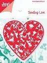 Noor! Design - Cutting & Embossing stencil - Sending Love - Hart met vlinders