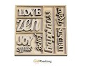 Houten ornamenten - CraftEmotions - 10,5 x 10,5 cm - Happiness tekst